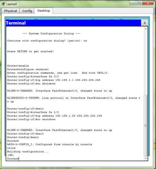 Konfigurasi Router 0 (fa 0/0 & fa 1/0)