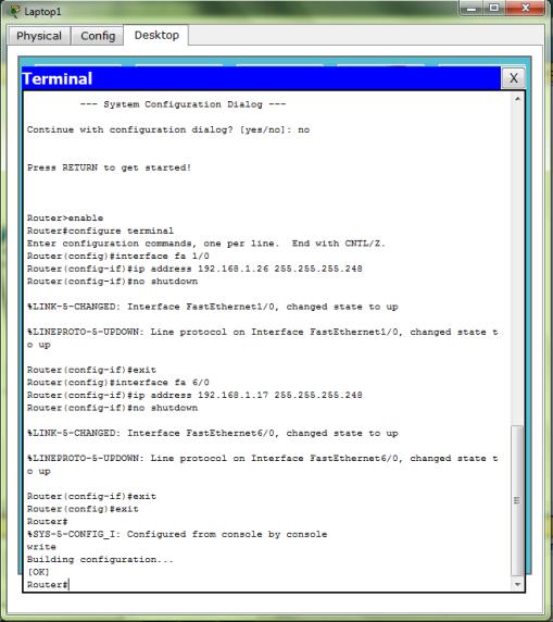 Konfigurasi IP pada Router 1 (fa 1/0 & fa 6/0)