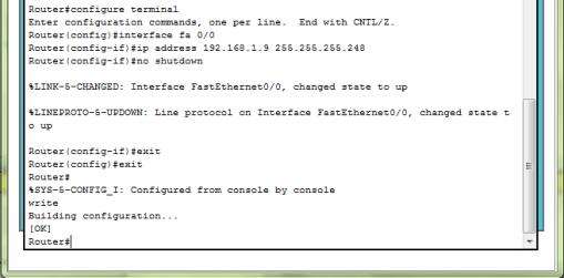 Konfigurasi Router 1 pada Kelas 2 (fa 0/0)