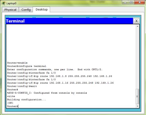 Konfigurasi IP Route pada Router 0