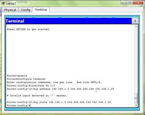 Konfigurasi IP Route pada Router 1